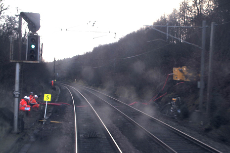 CCTV image from the train showing the start of the emergency speed restriction (courtesy of Avanti West Coast)