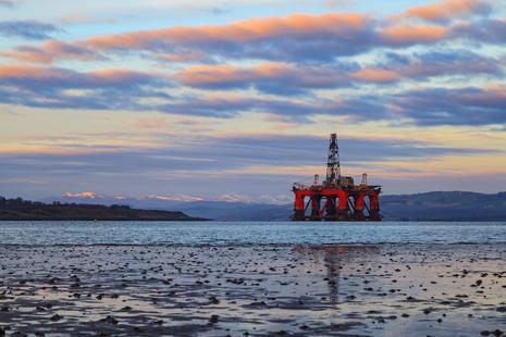 Oil rig in the North Sea off the coast of Scotland