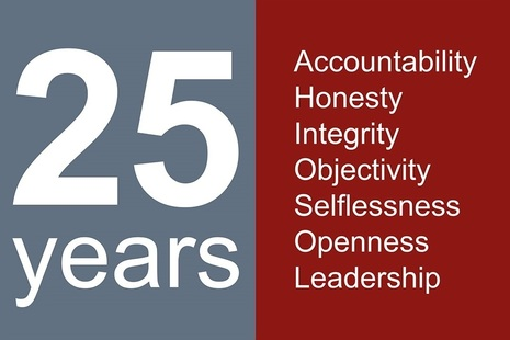 The words '25 years' opposite the words 'selflessness integrity objectivity accountability openness honesty leadership'