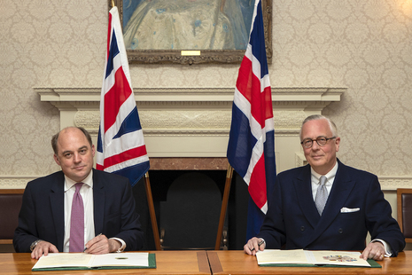 Defence Secretary Ben Wallace and Iceland's Ambassador to the UK Sturla Sigurjónsson