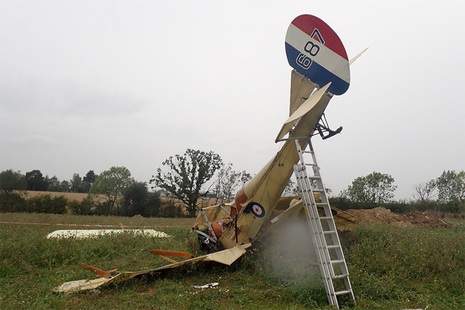 Crashed vintage aircraft