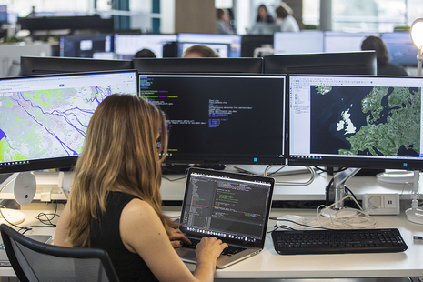 UKHO staff member at computer