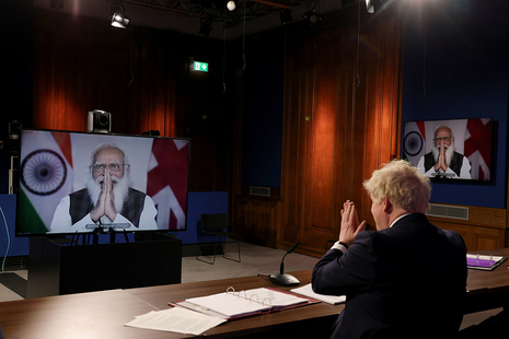 Prime Minister Boris Johnson video call with Prime Minister Narendra Modi