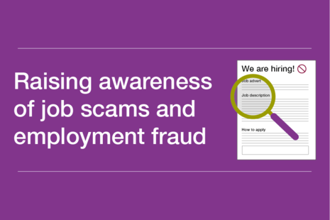 Decorative graphic that reads 'Raising awareness of job scams and employment fraud'