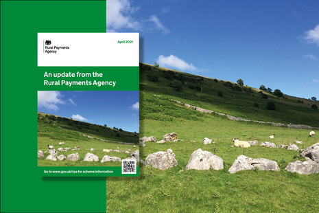Front page of the Rural Payments Agency April 2021 update with a rural landscape in the background