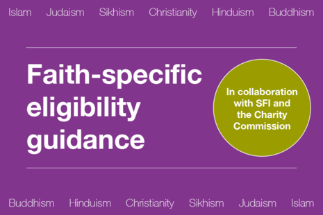 Decorative image that reads 'Faith-specific eligibility guidance - in collaboration with SFI and the Charity Commission'.