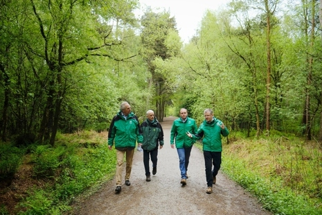 Four men walking through a woodland