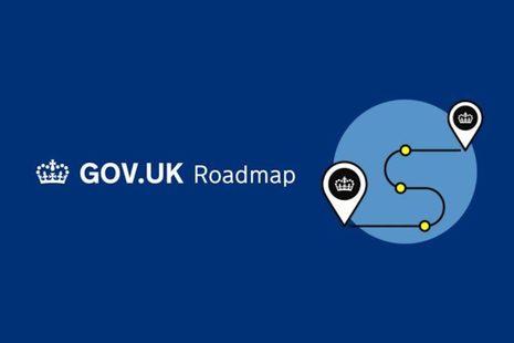 White crown GOV.UK logo on dark blue background.