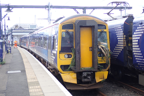 Damaged train at Stirling station after the accident