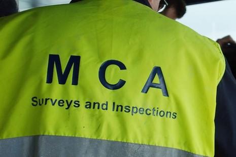 Back of survey and inspection high vis jacket