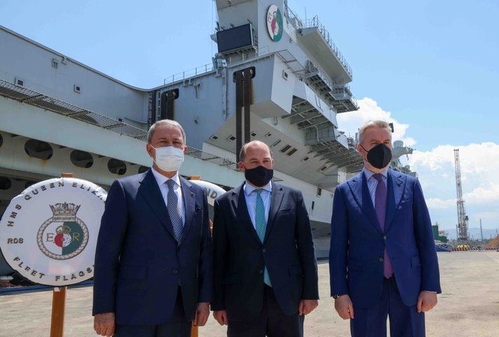 Ben Wallace with the Italian and Turkish defence ministers on board HMS Queen Elizabeth