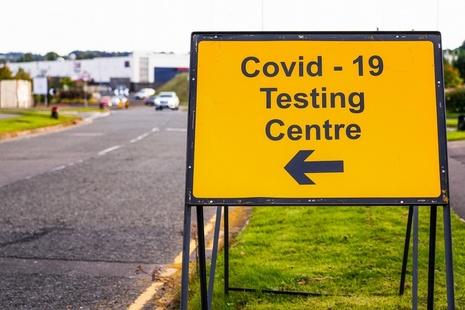 Coronavirus testing centre sign