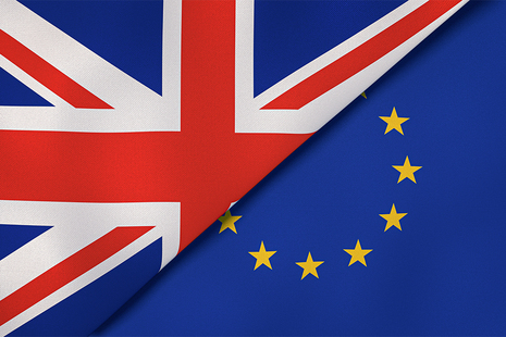 Dual flags represented by the United Kingdom and the European Union