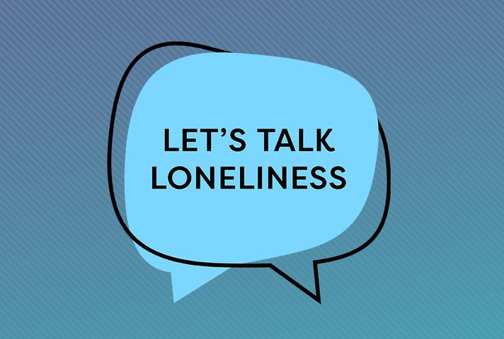 Let's Talk Loneliness logo on blue background