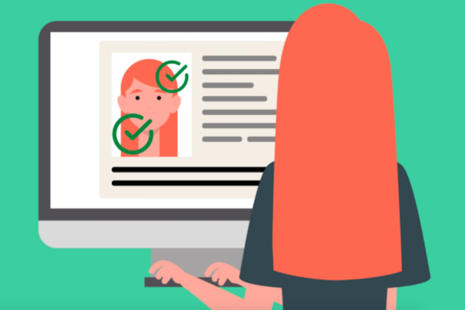 Illustration of a woman sitting at a computer showing her image on screen with 2 green ticks.