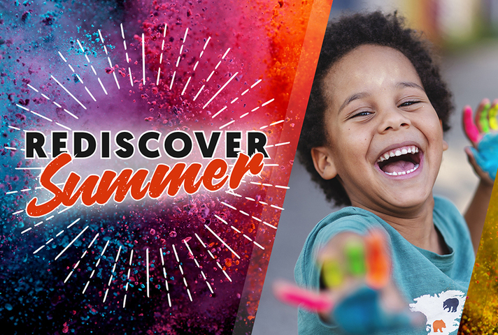 Rediscover Summer branded with image of smiling child