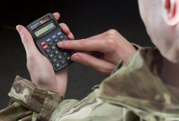 Veteran holding calculator