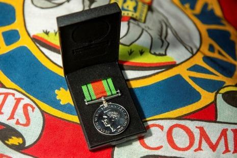 medal on flag