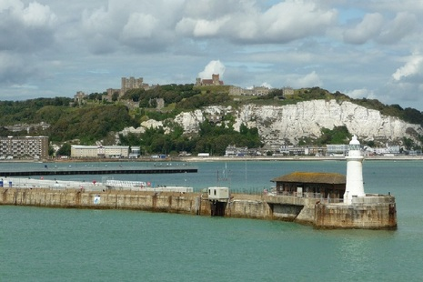 Harbour entrance to Dover with white cliffs in background