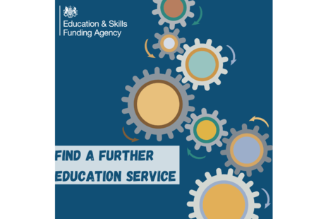 Promotional image for ESFA's find a further education service.