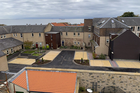 The finished Allen Court project, after the car park had been reconstructed, with the new boundary wall in the foreground of the picture