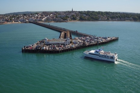 FastCat – a fast ferry operated by Wightlink – approaching Ryde Pier Head Port on the Isle of Wight.  Photo credit: Wightlink