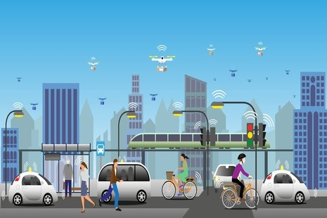 Animated image showing modes of transportation including bike, car and drones