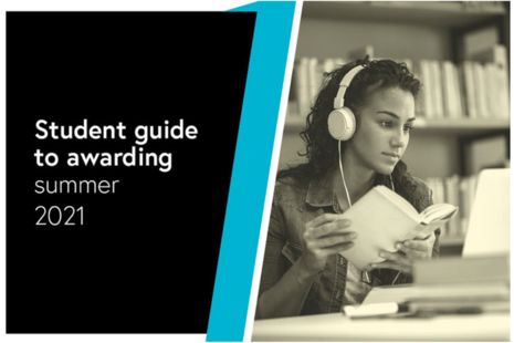 The front cover of the student guide to awarding, showing a girl with headphones on looking at a screen