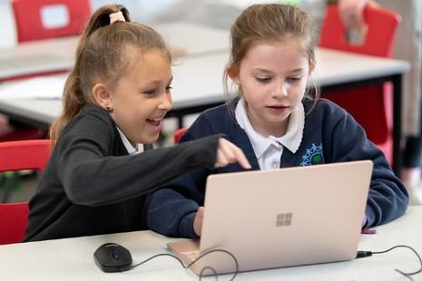 School children learning with Minecraft