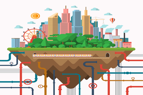Big city urban landscape animation with underground pipes and cables