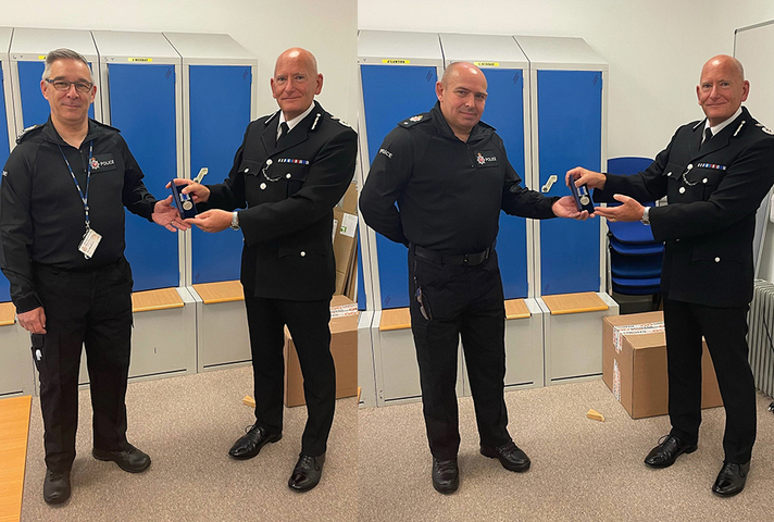 Sgt Nick Whitebrook and PC Chris Kent receiving their medals