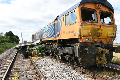 The locomotive and trailer following the accident