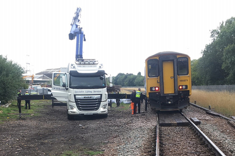 The train and lorry after the accident (image courtesy of Network Rail)