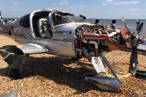 crashed aircraft on beach