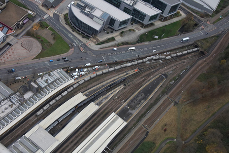 The train following the derailment (image courtesy of Network Rail Air Operations Team)