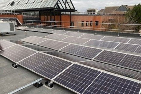 Solar panels on roof of court building