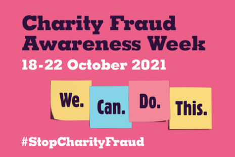 Charity fraud awareness logo with dates