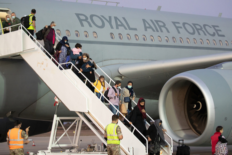 The RAF has airlifted over 102 people who had already left Afghanistan from a neighbouring third country.