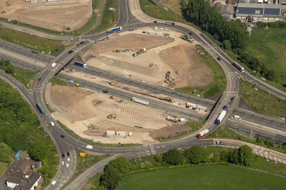 Image showing erial close-up of the centre of the roundabout and M6 carriageways