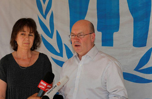 FCO Minister Alistair Burt addressing the media after his visit to the Syrian refugees camp in Lebanon