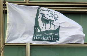 Royal County of Berkshire flag flying outside Eland House