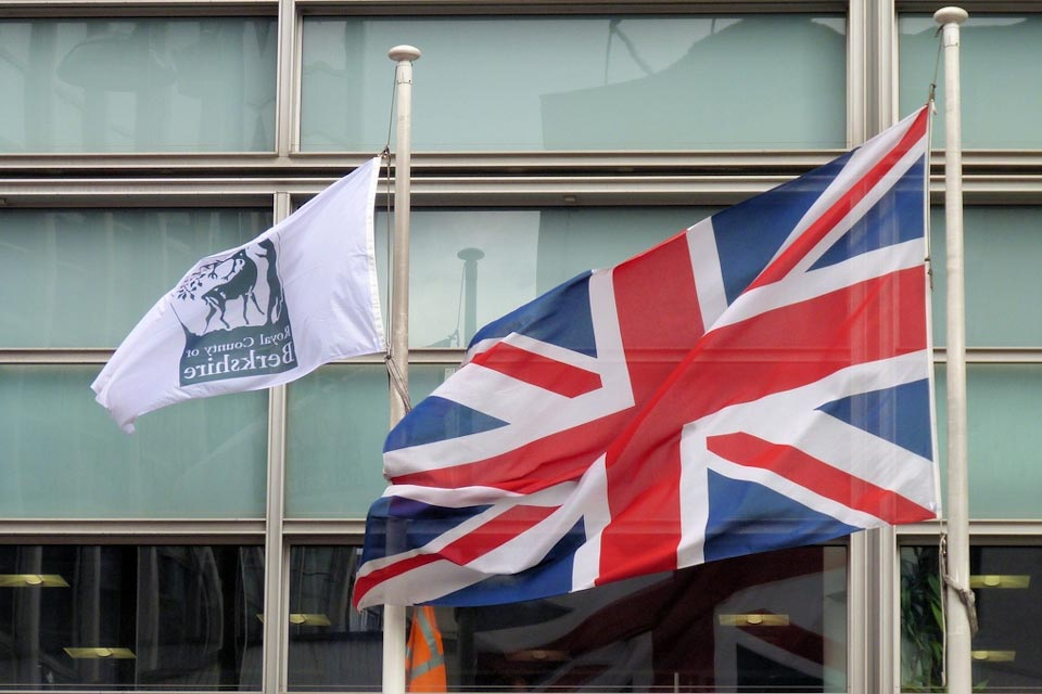 The Berkshire flag and Union Flag