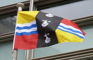 Bedfordshire flag flying outside Eland House
