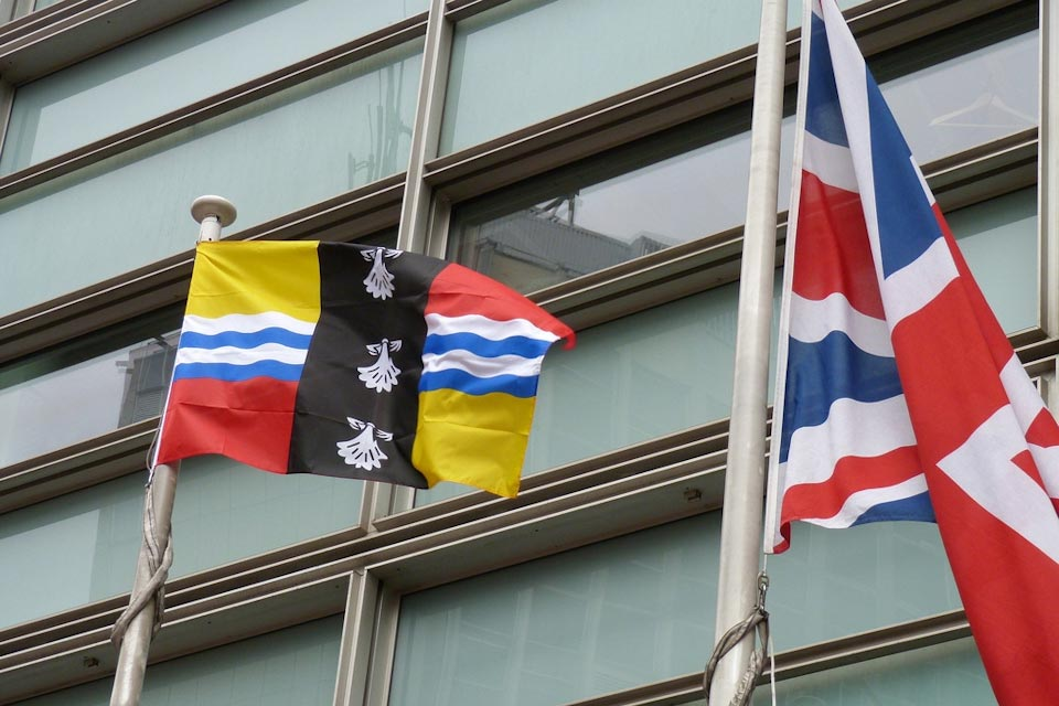 The Bedfordshire flag and Union Flag