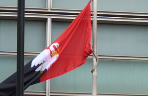 Buckinhamshire flag flying outside Eland House