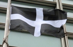 Cornwall flag flying outside Eland House