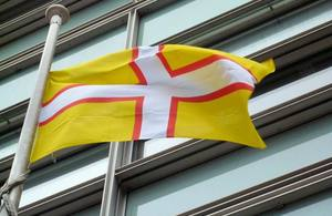 Dorset flag flying outside Eland House
