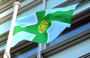Derbyshire flag flying outside Eland House