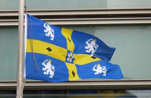 Durham flag flying outside Eland House