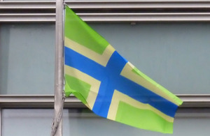 Gloucestershire flag  flying outside Eland House